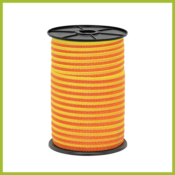 Villanypásztor Szalag 10 mm, rozsdamentes acél 4 x 0,16, 250m, sárga-narancs